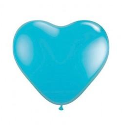 10 ballons coeur bleu lagon