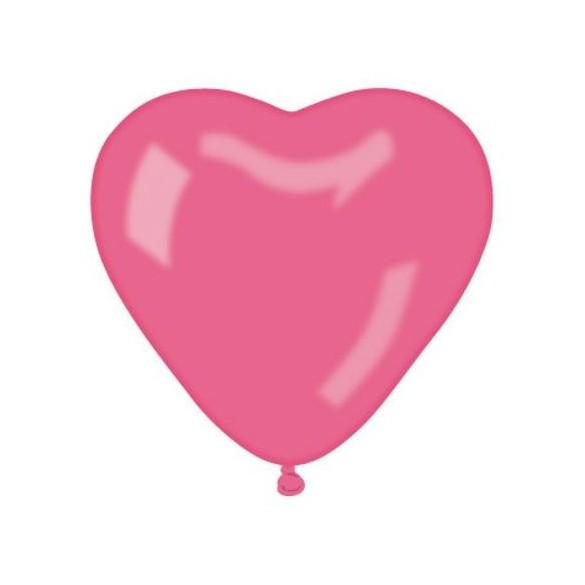 10 ballons coeur fuchsia