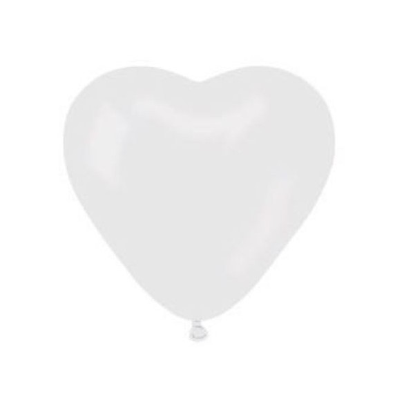 10 ballons coeurs blanc