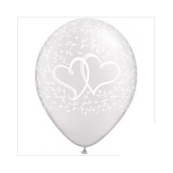 10 ballons coeurs entrelacés blanc