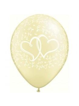 10 ballons coeurs entrelacés ivoire