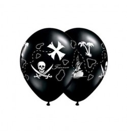 10 Ballons pirate carte au trésor 30cm