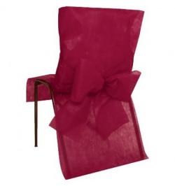 10 Housses de chaise bordeaux avec noeuds