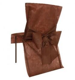 10 Housses de chaise chocolat avec noeuds