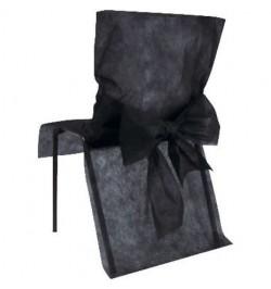 10 Housses de chaise noir avec noeuds