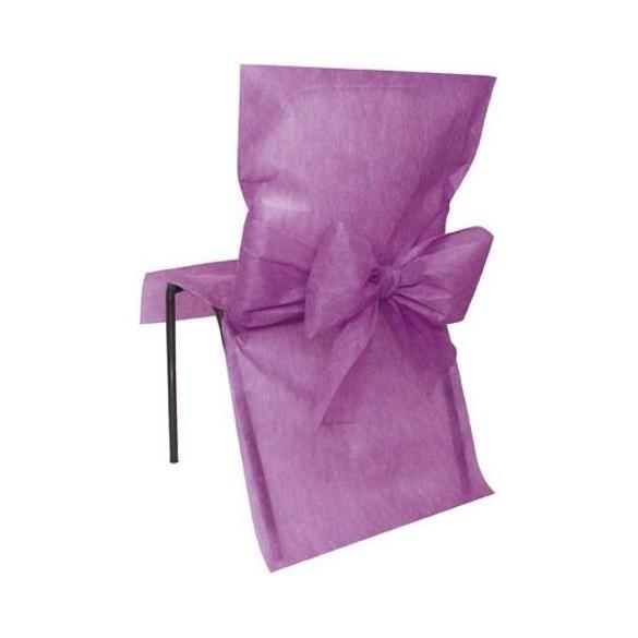 10 Housses de chaise prune avec noeuds