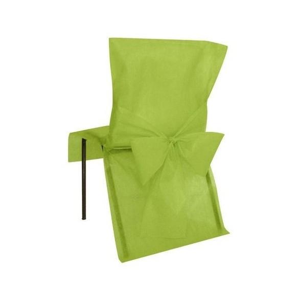 10 Housses de chaise verte avec noeuds