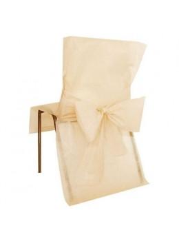 10 Housses de chaises ivoire avec noeuds