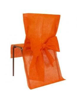 10 Housses de chaises orange avec noeuds