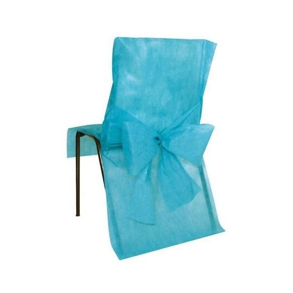10 Housses de chaises turquoise avec noeuds