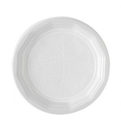 100 Assiettes plastiques blanches 22cm