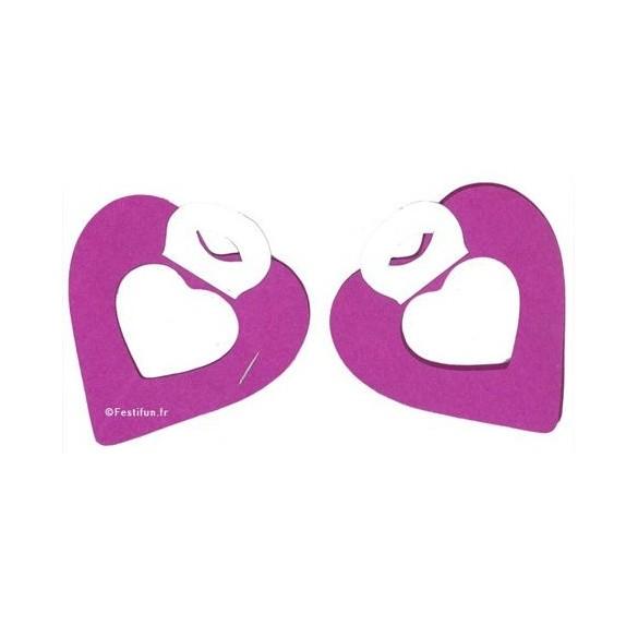 2 petites guirlandes coeur aubergine