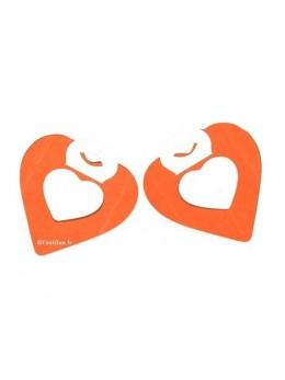 2 petites guirlandes coeur orange