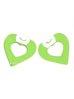 2 petites guirlandes coeur vert pomme