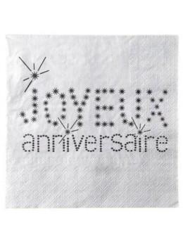 20 Serviettes anniversaires VIP