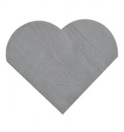 20 Serviettes coeur gris