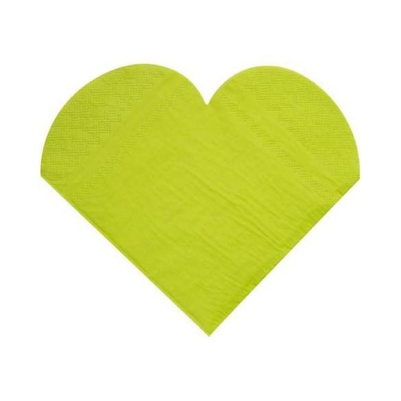 20 Serviettes coeur vert anis
