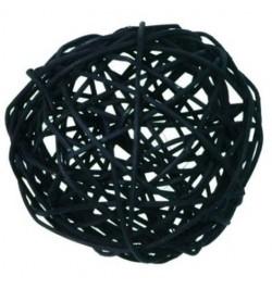 10 boules rotin noires