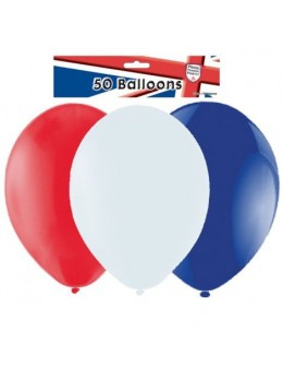 50 ballons Bleu blanc rouge