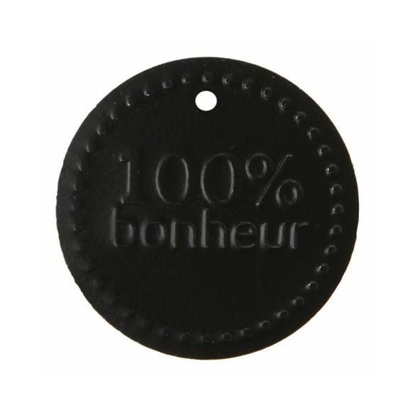6 Etiquettes métal 100% bonheur noir