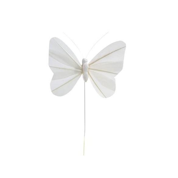 6 Papillons unis blancs sur tige