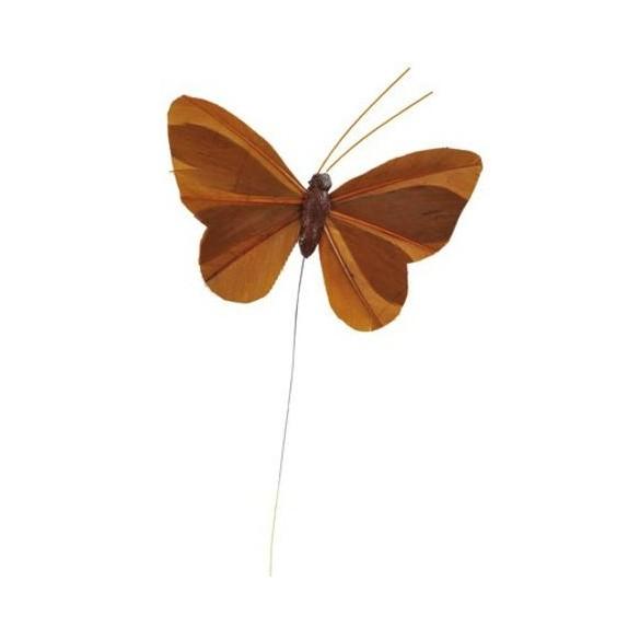 6 Papillons unis chocolat sur tige