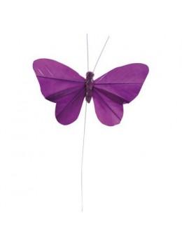 6 Papillons unis prune sur tige