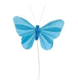 6 Papillons unis turquoise sur tige