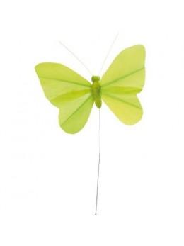6 Papillons unis vert sur tige