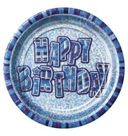 8 assiettes Happy Birthday bleu prismatique