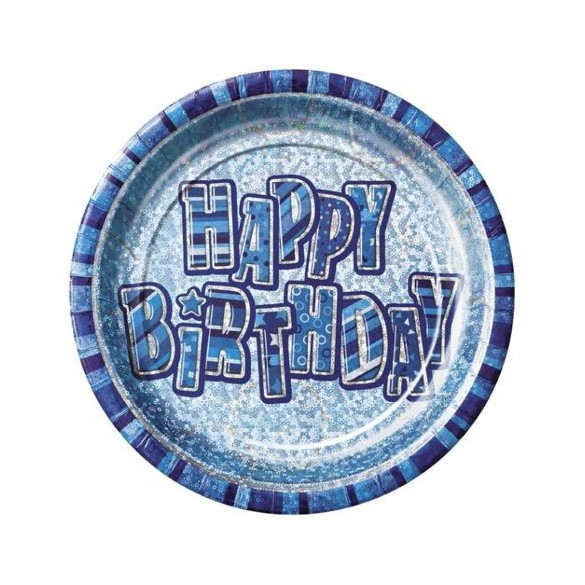 8 assiettes Happy Birthday bleu prismatique