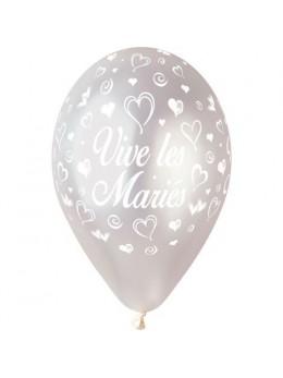10 Ballons 30cm Vive les mariés Argent
