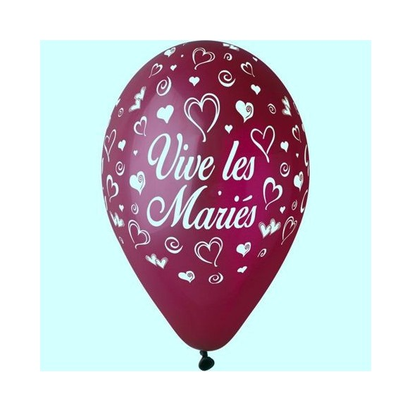 10 ballons 30cm Vive les mariés Bordeaux
