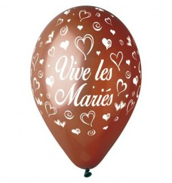 10 Ballons 30cm Vive les mariés Chocolat