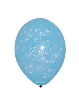 8 Ballons 30cm Vive les mariés Ciel