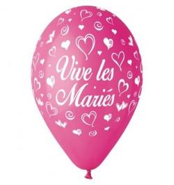 10 Ballons 30cm Vive les mariés Fuchsia