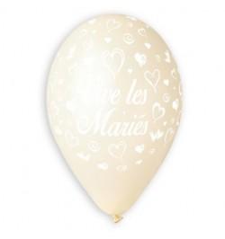 10 Ballons vive les mariés tout autour ivoire