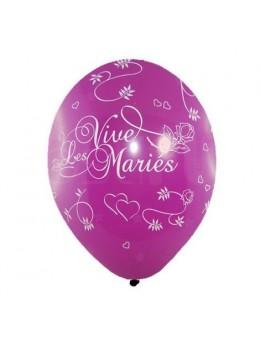 8 Ballons vive les mariés tout autour prune
