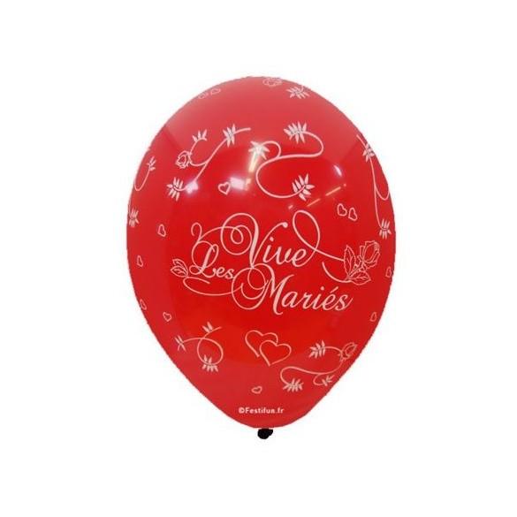 8 Ballons vive les mariés tout autour rouge