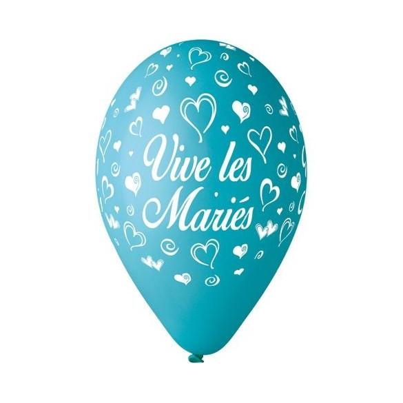 10 Ballons 30cm Vive les mariés Turquoise