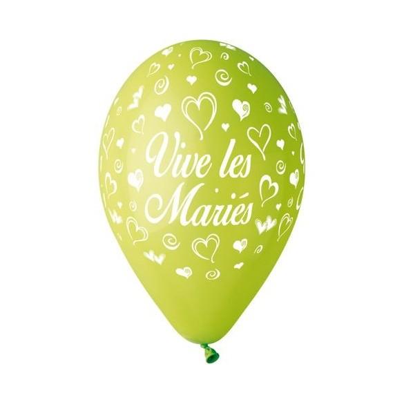 10 Ballons 30cm Vive les mariés vert
