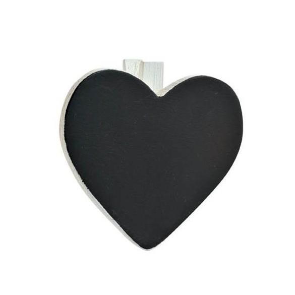 6 Ardoises coeur + pince blanc