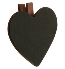 6 Ardoises coeur + pince chocolat