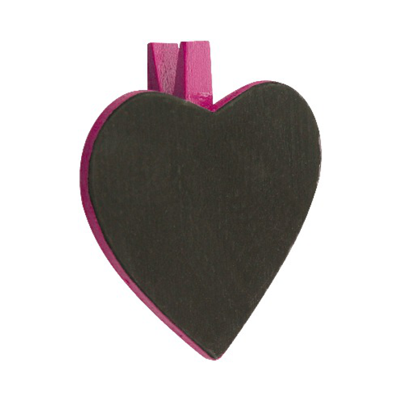 6 Ardoises coeur + pince fuchsia