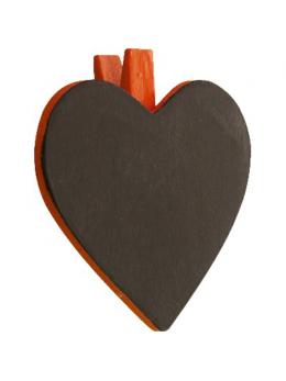 6 Ardoises coeur + pince orange
