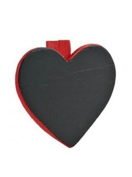 6 Ardoises coeur + pince rouge