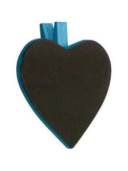 6 Ardoises coeur + pince turquoise
