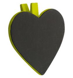 6 Ardoises coeur + pince vert anis