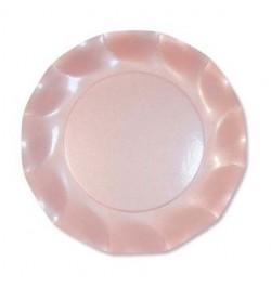 10 Assiettes carton rose pale nacré