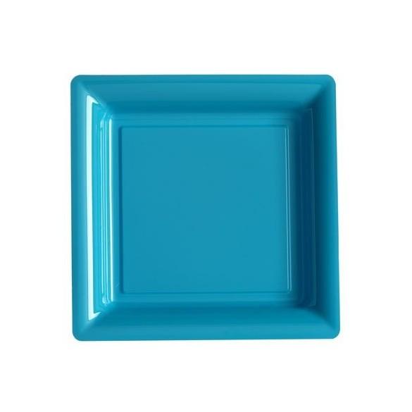 12 Assiettes carrées plastiques turquoise